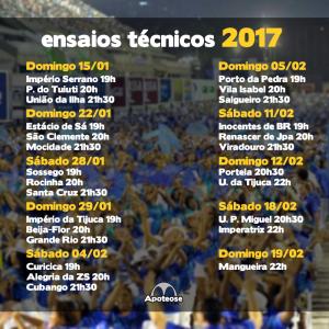 Divulgado o calendário dos ensaios técnicos para o carnaval 2017