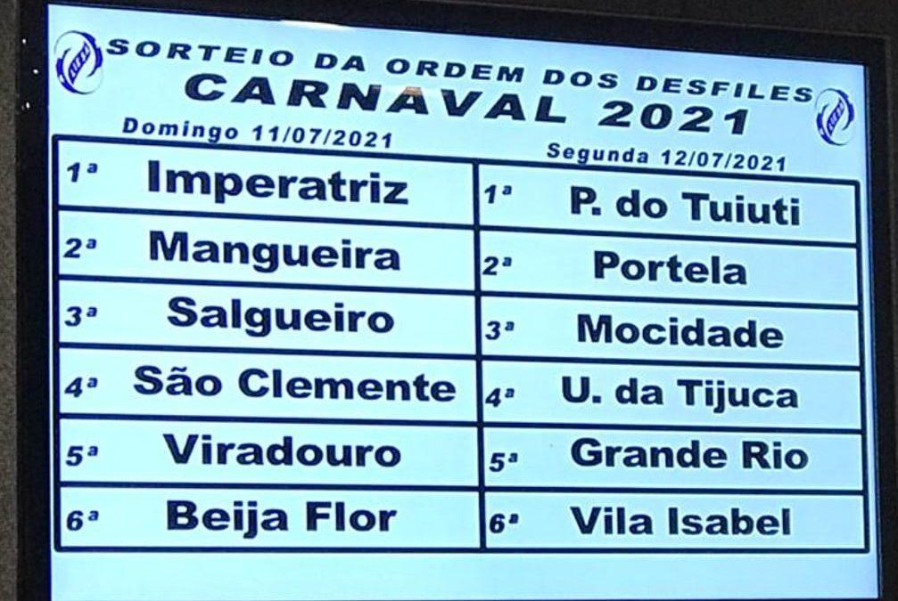 Sorteada a ordem dos desfiles para o carnaval 2021
